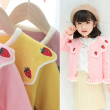 Girl Sweater Strawberry Cardigan New Pearl Coat Fungus Edge-Lapel Solid-Color