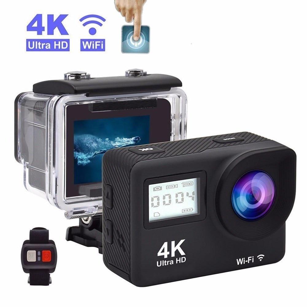 4K Ультра HD экшн-Камера касания двойные ЖК-дисплей Wi-Fi 20MP 170D возможностью погружения на глубину до 30 м Go Водонепроницаемый Pro Sport DV видеокамера...