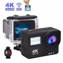 4K Ultra HD Action Camera Touch Double LCD WiFi 20MP 170D 30m Go Waterproof Pro Sport DV Helmet Video Camera With Remote Control