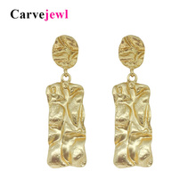 Carvejewl Big Vintage Earrings for Women Matte Silver Gold Rectangle Statement Earring 2018 Metal Earing Hanging Fashion Jewelry