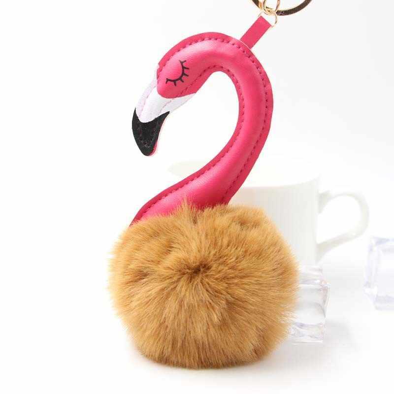 Dropshipping Bonito flamingo Boneca Bola Cadeia Chave Do Carro Titular Saco Chaveiro Pingente Charme Chaveiro de Pelúcia Pele Novas Mulheres Chaveiros