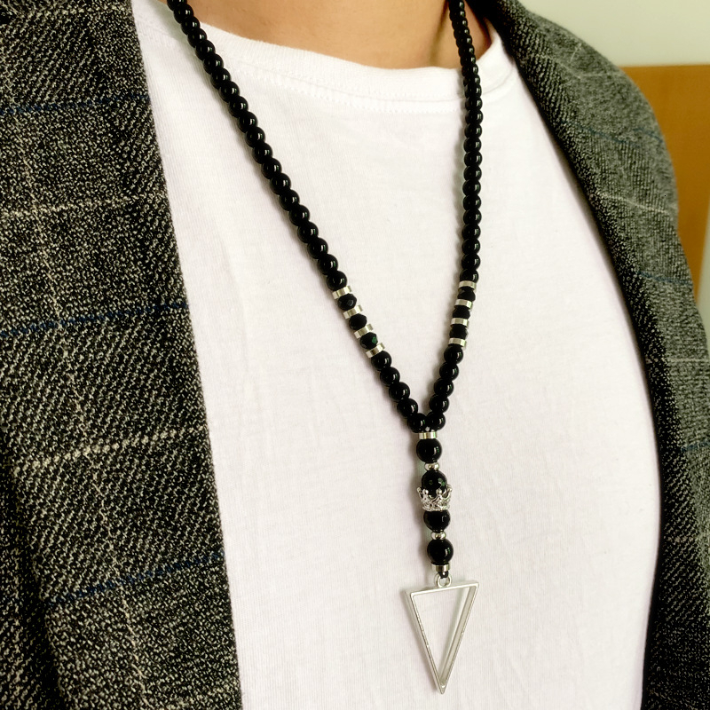 New Fashion Crown Beaded Strand Chain Necklace Men Temperament Triangle Pendant Necklace For Men Jewelry Gift