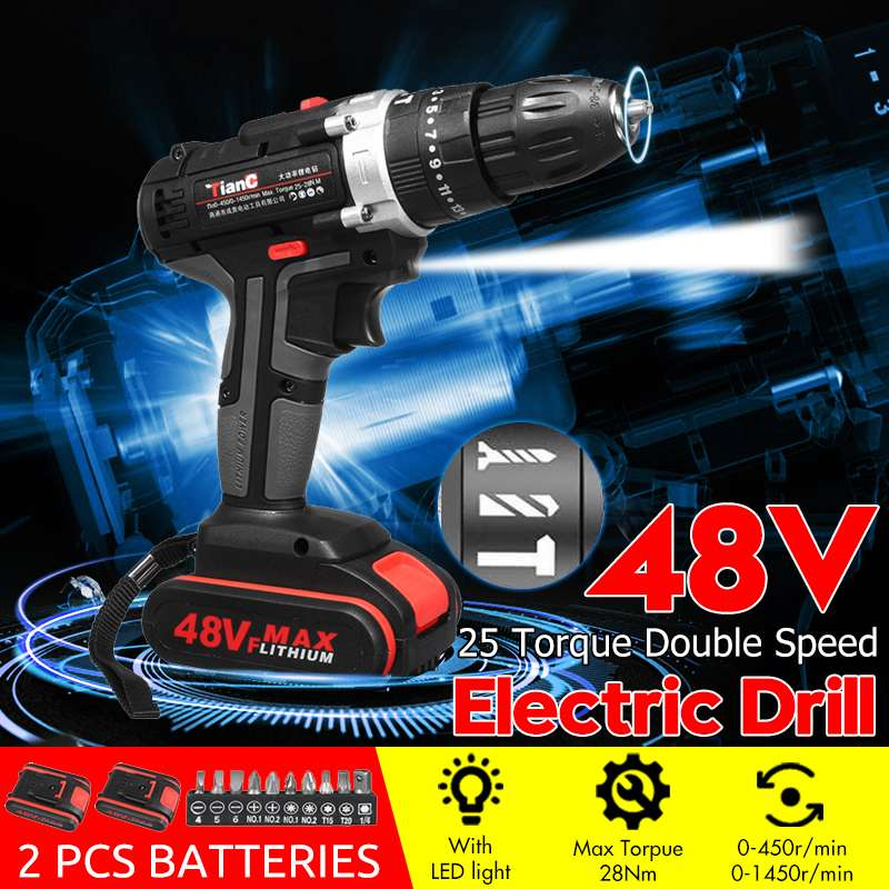 48V Cordless Electric Impact Hand Drill Rechargeable Drill Screwdriver Hammer Power Tools With LED Lighting For Car Home Diy
