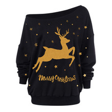 New Year Loose Hoodies Deer Printed Pullover Chris
