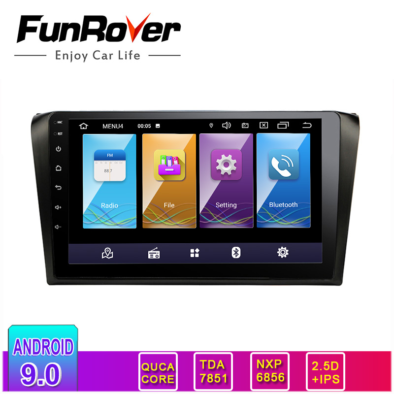 Funrover 2.5D+IPS Screen android 9.0 Car radio Multimedia player dvd For <font><b>mazda</b></font> <font><b>3</b></font> 2004-2009 gps <font><b>2din</b></font> car radio Radio Audio Player image