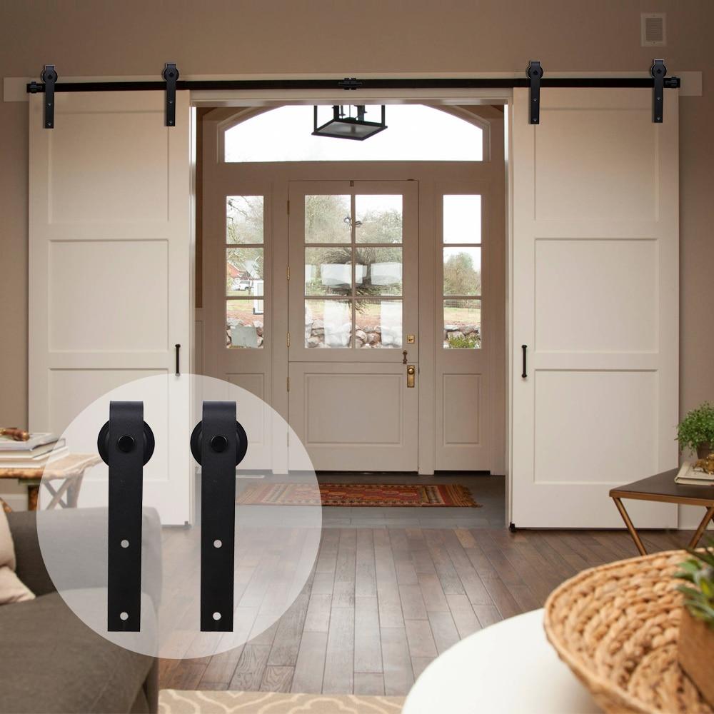 LWZH Industrial Style Sliding Barn Door Steel Hardware Kit Closet Door Hardware J-Shaped Hangers For 10FT/11FT/12FT Double Door