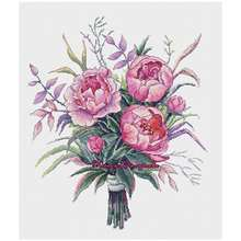 Watercolor peonies patterns counted cross stitch 11ct 14ct 18ct