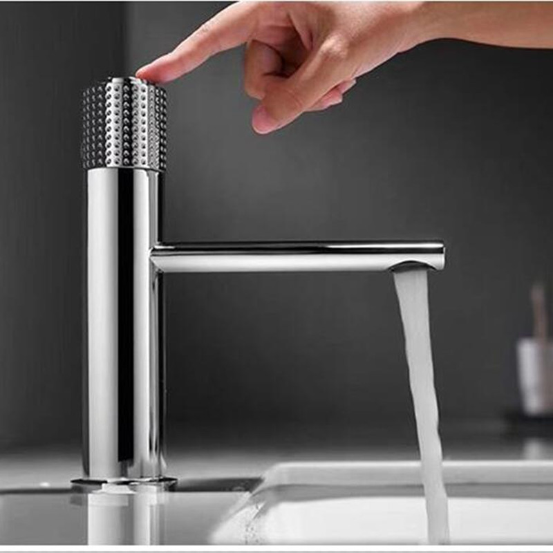new Basin Faucets Chrome Brass Bathroom sink Faucet key push-button style brush gold hot and cold water tap