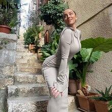Kliou Patchwork Hooded Bodycon Maxi Dress Women 2020 Autumn Winter Long Sleeve Casual Streetwear Slim Female платье Outfits