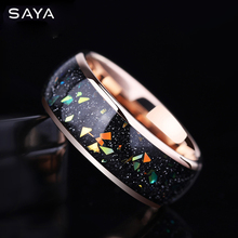 8mm Width Opal Engagement  Tungsten Rings Rose Gold Tungsten Men  Jewelry, Free Shipping