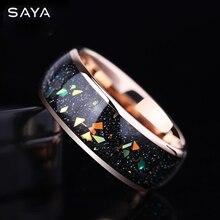 8mm szerokość Opal zaręczynowe pierścienie wolframowe różowe złoto wolframu mężczyzn biżuteria, bezpłatna wysyłka