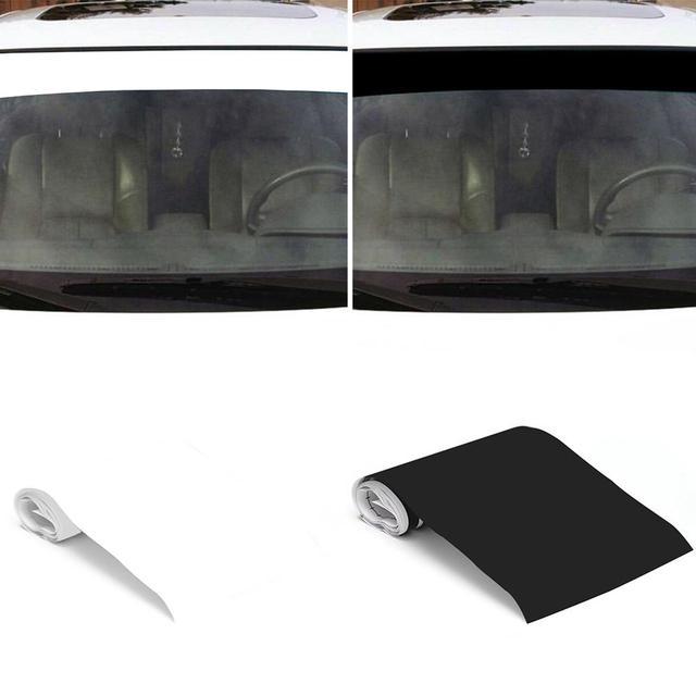 Pegatinas de vinilo para parabrisas de coche, tira de rayas de carreras, pegatina decorativa para visera solar, adhesivo protector solar en blanco