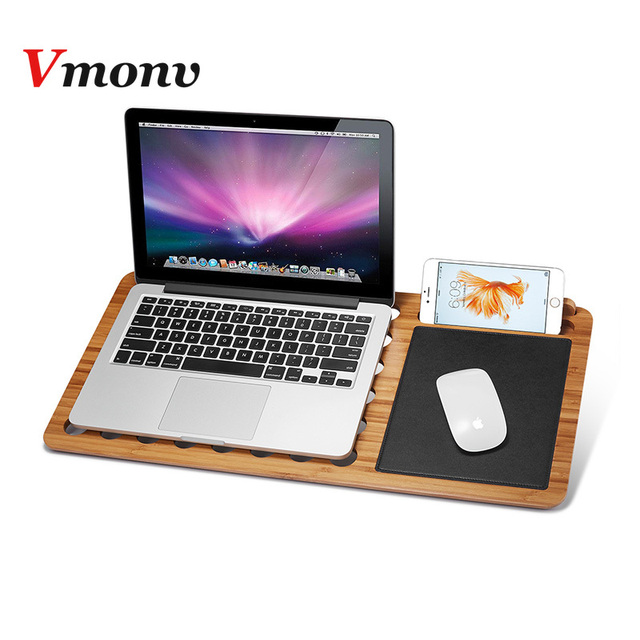 """Vmonv New Bamboo Laptop Holder for Macbook Air Pro Retina 11 13 15 Inch Portable Notebook Stand Mount for Lenovo HP 14.1″ 15.6 """""""