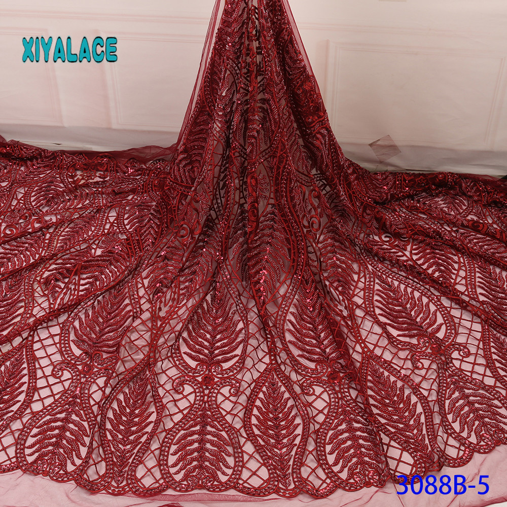 Nigerian African Lace Fabrics 5Yards Guipure Lace Fabric High Quality African Lace Fabric For Wedding Dress French Lace YA3088B5