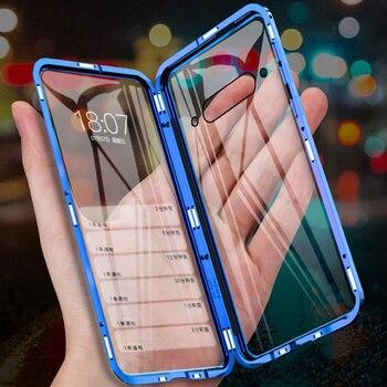 Перейти на Алиэкспресс и купить 360 полностью Магнитный чехол для телефона ZTE Nubia Z20 NX627J металлическая рамка двусторонняя стеклянная крышка алюминиевый бампер для Nubia Z20 чехо...