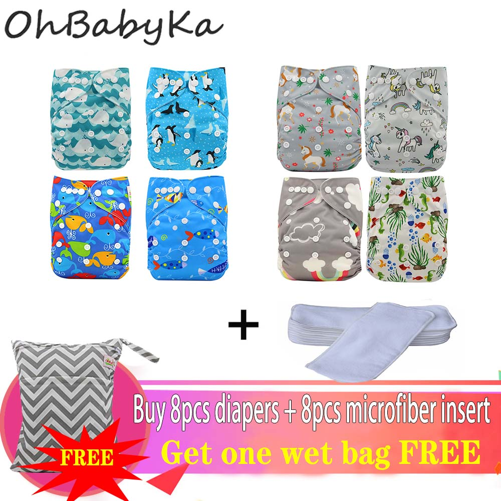 Ohbabyka 8 Pocket Diaper Cover Washable Diapers Baby Reusable Nappies Training Pants With FREE Diaper Bag For Girls And Boys