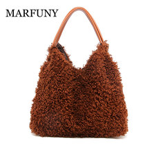 New Winter Lovely Women Handbags Faux Teddy Fur Fashion Over Shoulder Bags Top-Handle Bag Big Capacity Bucket Tote Ladies Bags winter pink causal tote bag fashion fur handbags for women made by whole pieces fur clutch bag plush puffy vest bag furry bucket