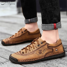Mhysa 2020 New Comfortable Men's Leather Shoes hand-stitched