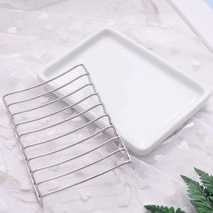 Мыльница из нержавеющей стали, двойной слой, слив, мыльница для ванной комнаты, душ, простая керамическая мыльница, бытовая
