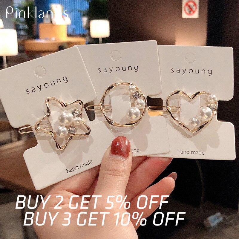 New Girls Pearl Hair Clip Metal Crystal Hairclip Barrettes Headwear Bobby Hair Pins For Wedding Women Jewelry Hair Accessories