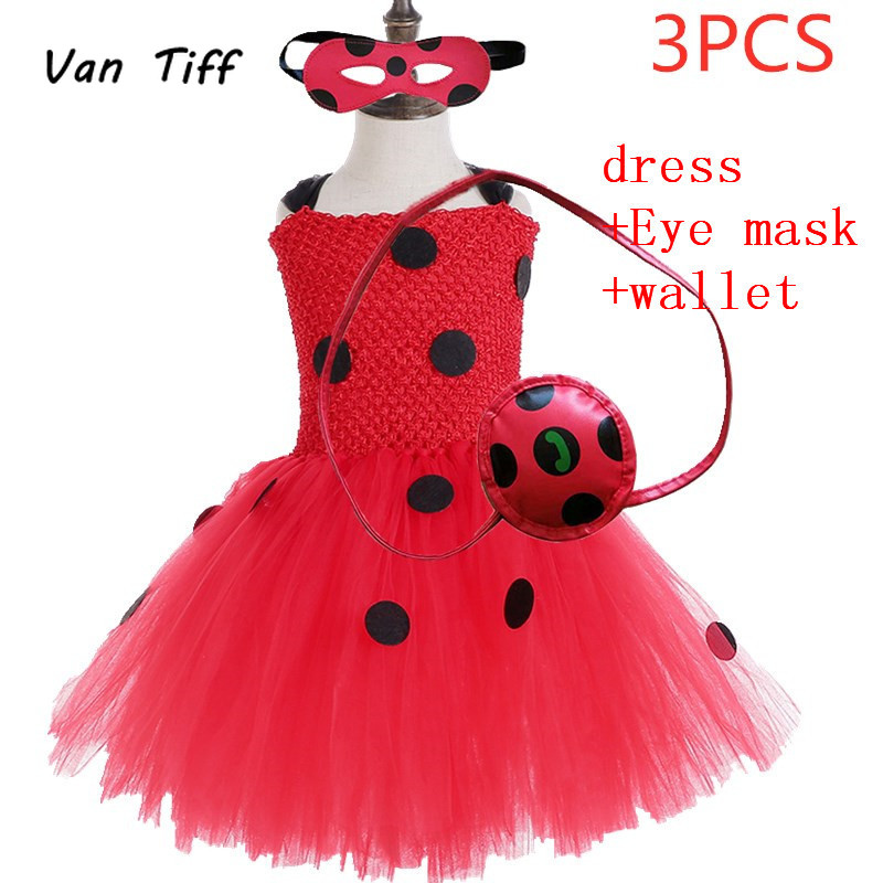 kids Vestidos sale Lady Bug Red Dot birthday Party Dress toys masks Costume Kids Girls Clothes Ladybug Halloween Cosplay Dress