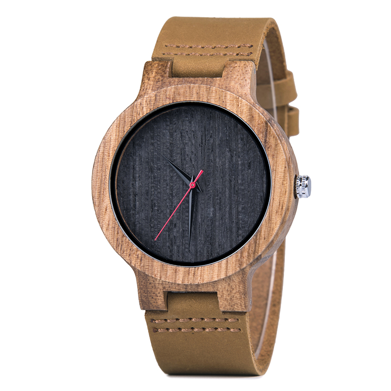 Lovers' Watches Women Relogio Feminino Wood Men Watch Leather Band Handmade Quartz Wristwatch Erkek Kol Saati