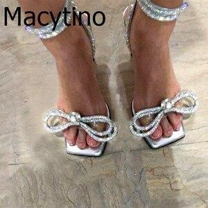 2020 frauen schuhe sandalen dünne schuhe mit hohen absätzen sommer hochzeit schuhe glitter diamant perle fliege open-kappe starke ferse schuhe