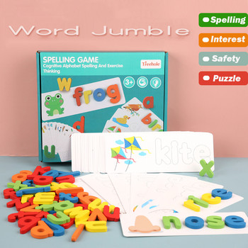 Wooden Cardboard English Spelling Alphabet Game Early Education Toy Gift Word Jumble Montessori H1205 image