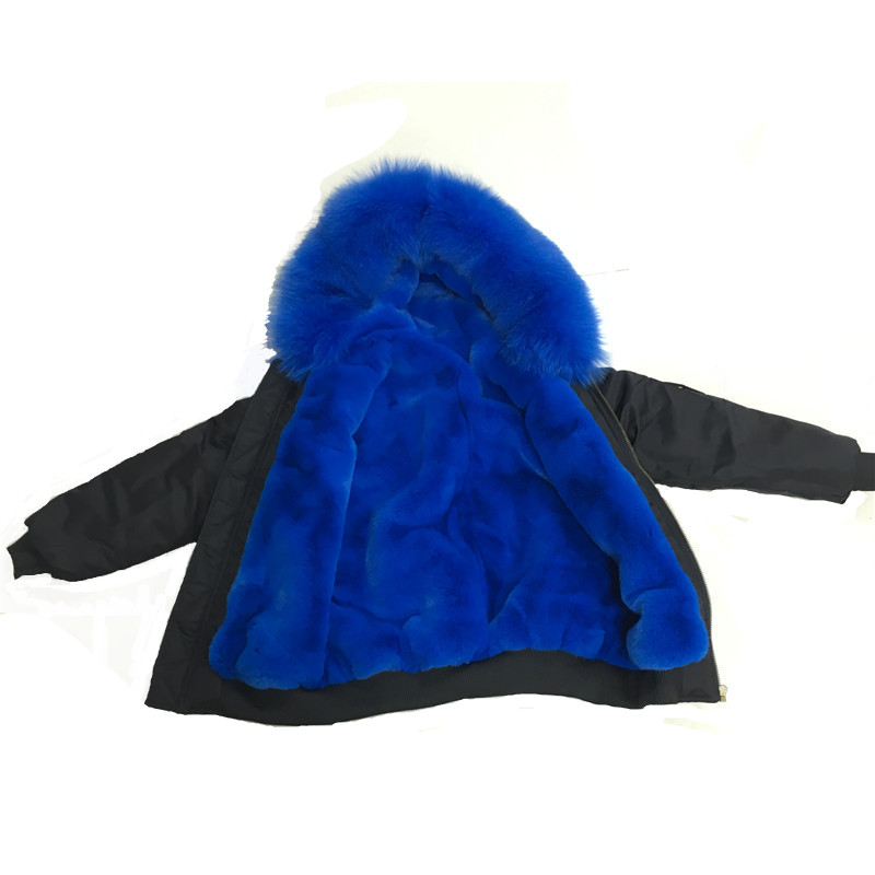 New 2019 Royal Blue Raccoon Fur Collar And Faux Fur Liner Jacket For Little Boys Have Buttons Decoration Sping Coat