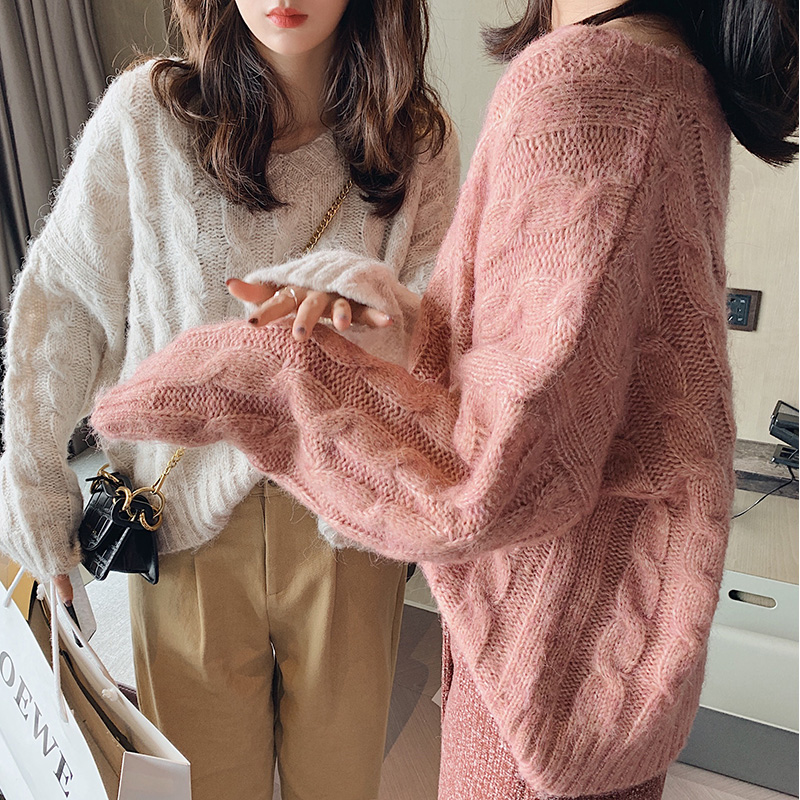 MISHOW V Neck Solid Knit Wool Sweater Women Loose Pullover Fall Winter Warm Sweaters And Pullovers Female Fashion New MX19D5722
