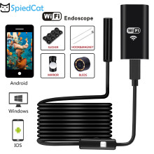 Cámara endoscópica inalámbrica WIFI impermeable 2M Cable suave 8mm Mini lente Snake Pipe inspección Cam para IOS iPhone Android teléfono(China)