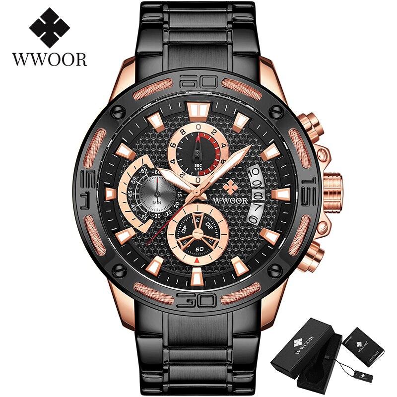 WWOOR 2020 New Men Watches Top Brand Luxury Gold Stainless Steel Quartz Watch Men Waterproof Sport Chronograph Relogio Masculino 3