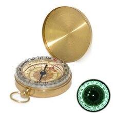 Outdoor Multi Function PureทองแดงClamshellเข็มทิศส่องสว่างนาฬิกาเข็มทิศแบบพกพาเครื่องมือวัดไม้บรรทัด