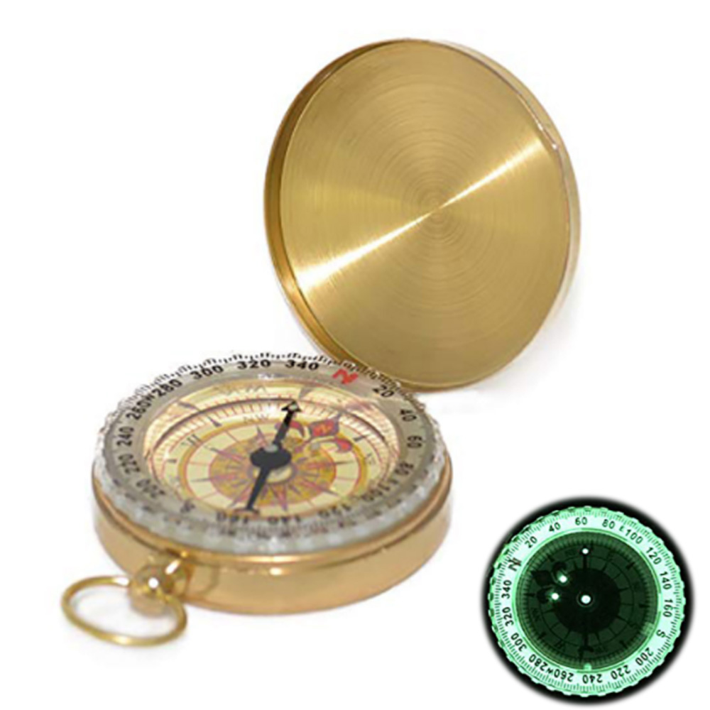 Pure Copper Clamshell Compass With Luminous Pocket Watch Compass Portable Outdoor Multi-function Metal Measuring Ruler Tool