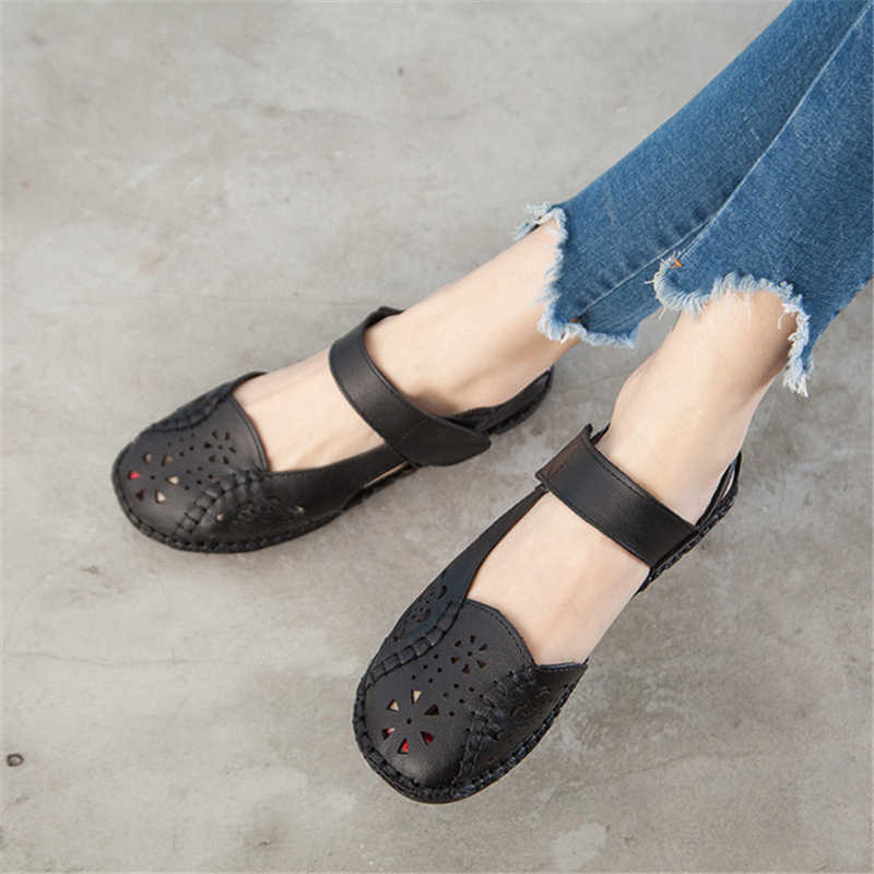GKTINOO 중공업 정품 가죽 통기성 소프트 플랫 샌들 여름 여성 신발 여성 캐주얼 솔리드 버클 스트랩 여성용 샌들