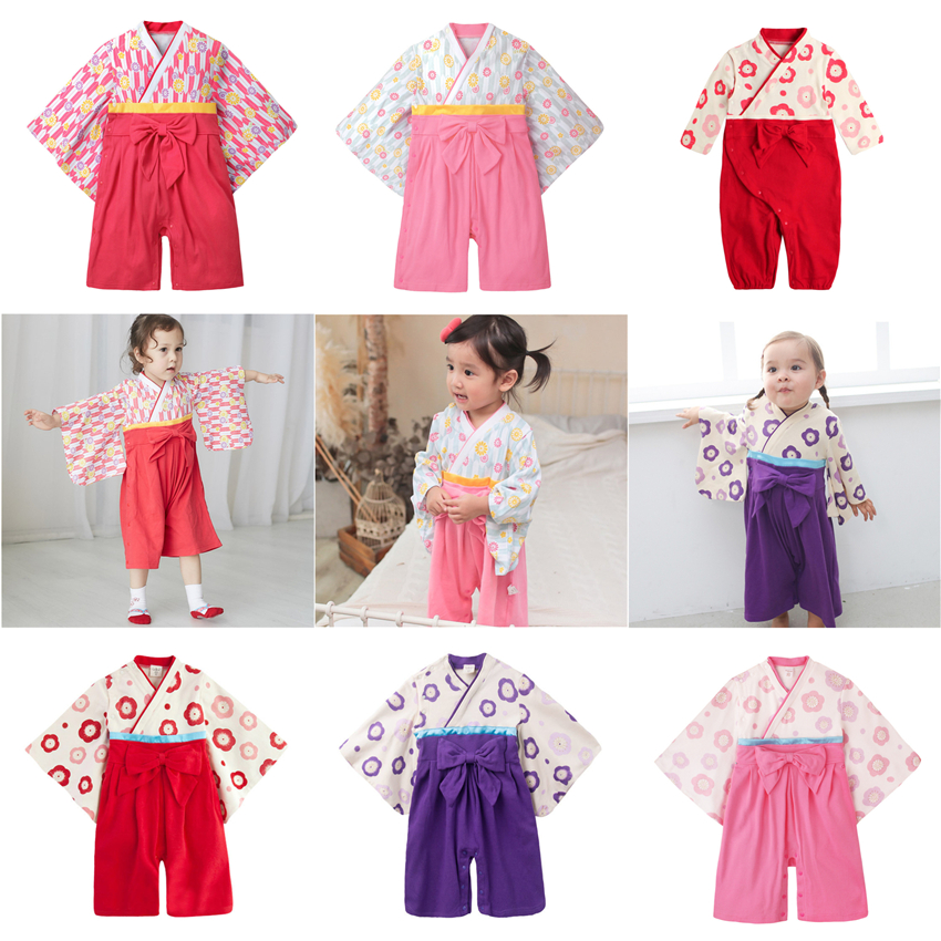 7Style Traditional Japanese Style Baby Girls Kimono Rompers Yukata Obi Cotton Performance Asian Clothing 0-1 Years Old Infant