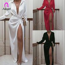 Adogirl Новое Модное Длинное Платье на пуговицах элегантное