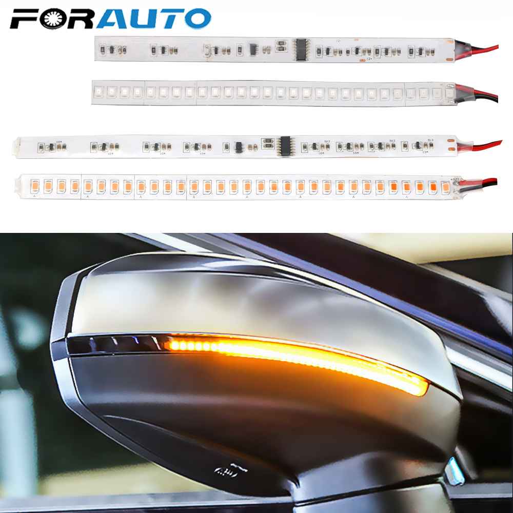1 Pair RearView Mirror Turn Signal Light For Motorcycle Auto Flowing Turn Signal LED Strip Flashing Car Modified Streamer Strip