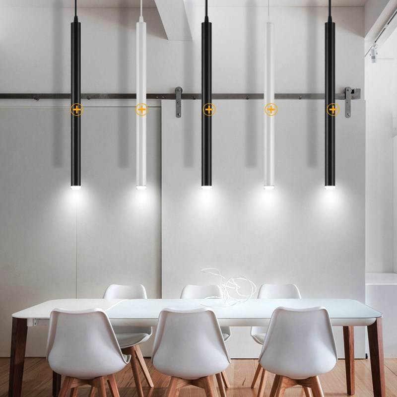 Светодиодная Подвесная лампа, длинный трубчатый светильник, кухонный остров, столовая, магазин, бар, украшение для прилавка, цилиндрическая труба, подвесной светильник, кухонная лампа