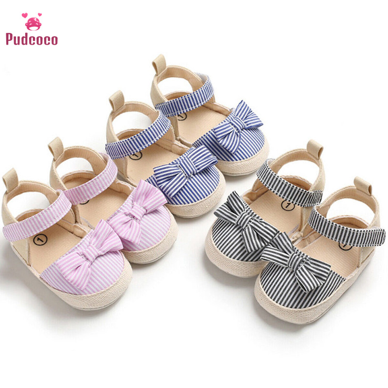 Pudcoco 2019 Children Shoes Newborn Infant Baby Girl Boy Soft Crib Shoes Infants Anti-slip Sneaker Striped Bow Prewalker 0-18M