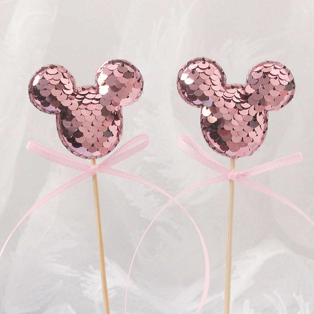 Nuevo 5 uds Cute Mickey-Mouse lentejuelas torta Topper Mickey Cupcake Topper para decoración de ducha de bebé Minnie Mouse torta decoración suministros