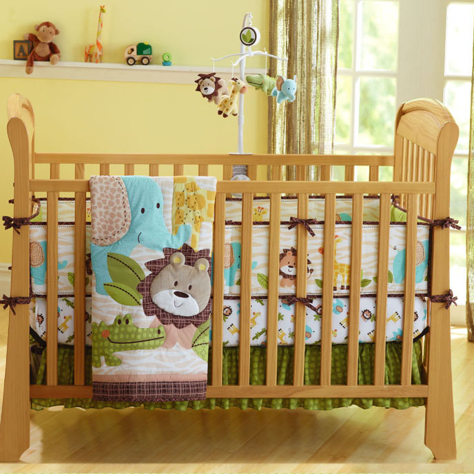 7PCS 100% Cotton Jungle Lion Printed Newborn Baby Bedding Set Boys Including Comforter, Crib Sheet, Skirt And 4 Sections Bumpers