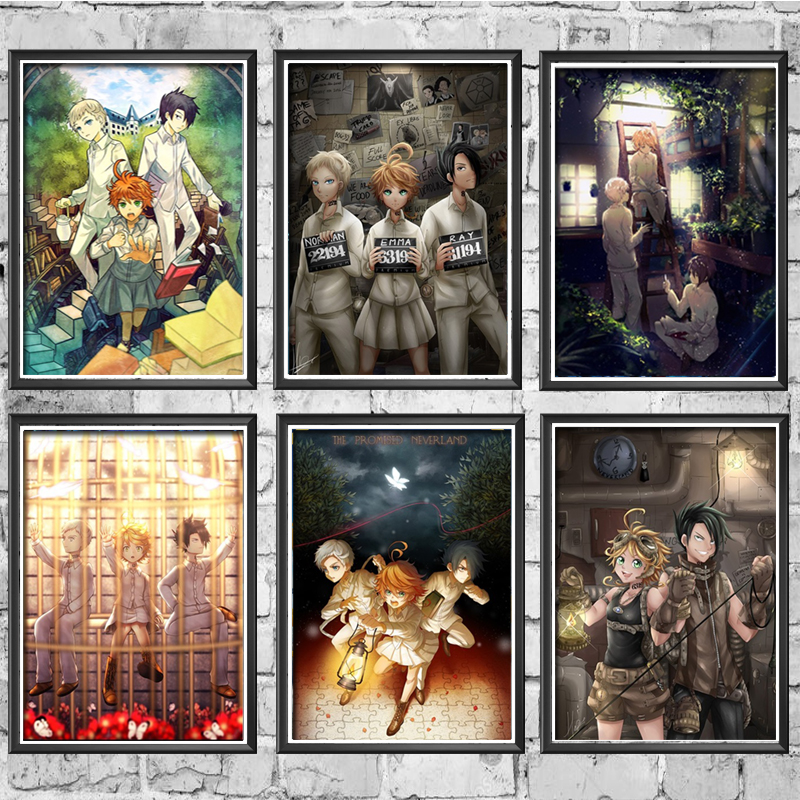 Canvas Painting Nordic Poster Art Prints Anime The Promised Neverland Yakusoku No Neverland Norman Emma Wall Picture Home Decor
