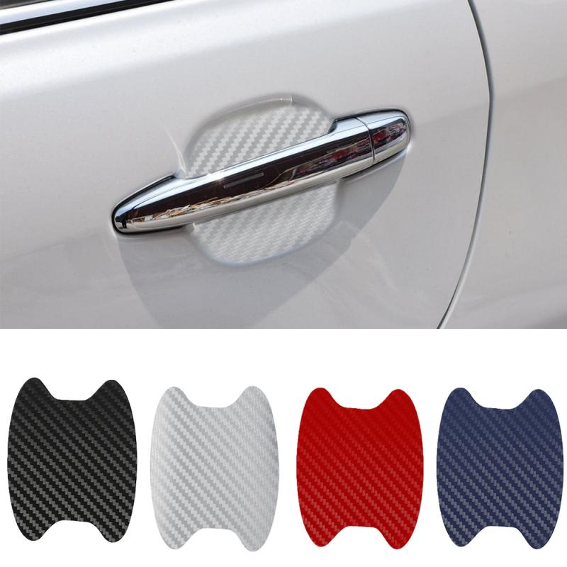 4PCS Auto Products 3D Carbon Fiber Car Automatic Door Cover Film Handle Scratch Door Bowl Sticker Car Stickers Car Accessories