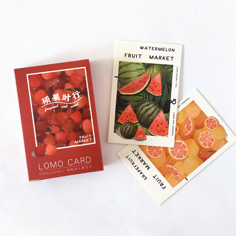 28 Sheets/Set Colorful Fruit Market Lomo Card Mini Paper Postcard/Greeting Card/Birthday Gift Card