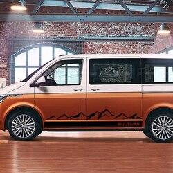 2PCS Mountain Car Graphics Vinyl Stickers Door Side Skirt Decals For Volkswagen VW Multivan T5 T6 Auto Body Decor Accessories