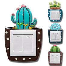 Switch Socket Frame Decor Cute Cartoon 3D Cactus Fluorescent Wall Light On-off Stickers Luminous Outlet Home Decorations