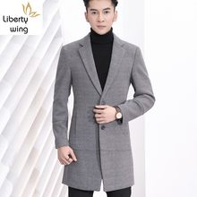 Winter Männer Büro Arbeiten Woolen Blends Graben Slim Fit Strickwaren Formale Langen Mantel Revers Kragen Männlichen Mantel 3XL Manteau Homme(China)