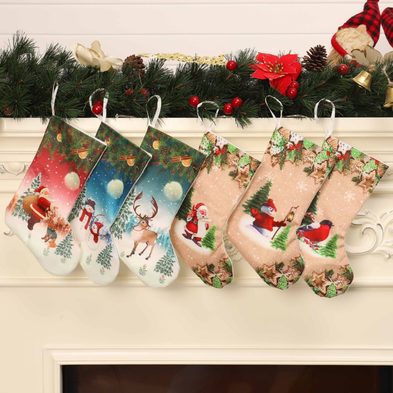 Large Christmas Stockings Gifts Cloth Santa Elk Socks Xmas Lovely Gift Xmas Tree Hanging Ornaments Seasonal Hanging Decor