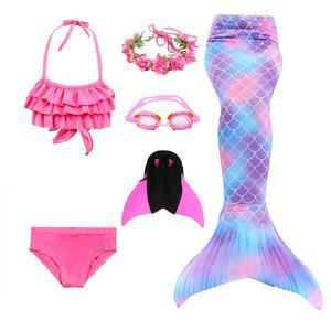 2020 Girls Kids Children Mermaid Tails for Swimming Costume Swimmable Bikini Bathing Swimsuit Little Mermaid Tail Cosplay(China)